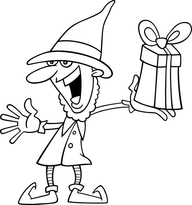Vinilo Pixerstick Duende de la navidad para colorear libro • Pixers ...