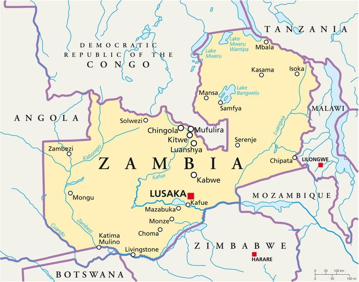 zambia karta Zambia map (Sambia Landkarte) Wall Mural • Pixers® • We live to change zambia karta