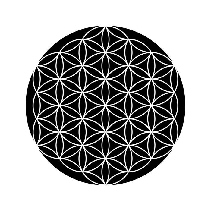 Sticker fleur de symbole de la vie en noir et blanc 2 pixers nous vivons pour changer - Symbole de la vie ...