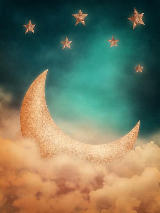 Vinylová Tapeta Měsíc a hvězdy - Nebe