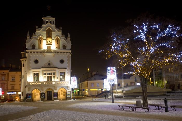 Vinylová Tapeta Město zdobí vánoční osvětlení, Rzeszow, Polsko - Evropa