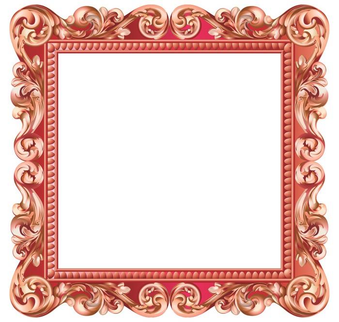 Vinilo Pixerstick Marco barroco cuadrado, rojo metálico • Pixers ...