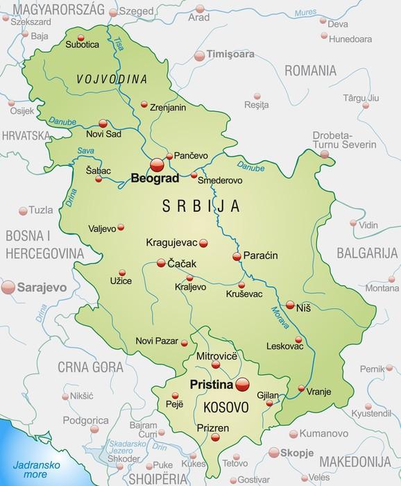 Vinylová Tapeta Mapa Srbska se sousedními zeměmi a velkými písmeny - Evropa