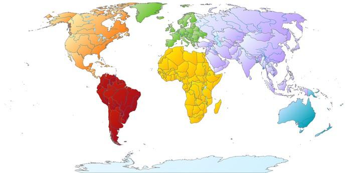 Vinylová Tapeta Mapa světa s barevnými kontinentů - Meziplanetární prostor