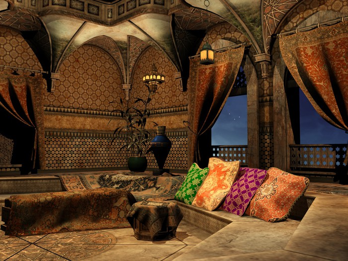 Fotobehang Het interieur van het Arabisch sprookjespaleis • Pixers ...