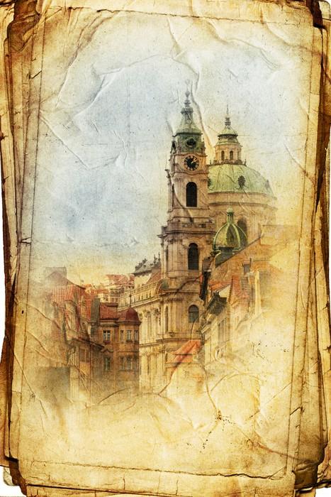 Vinylová Tapeta Výhled na Prahu z ve vintage stylu, stejně jako pohlednici - Evropská města