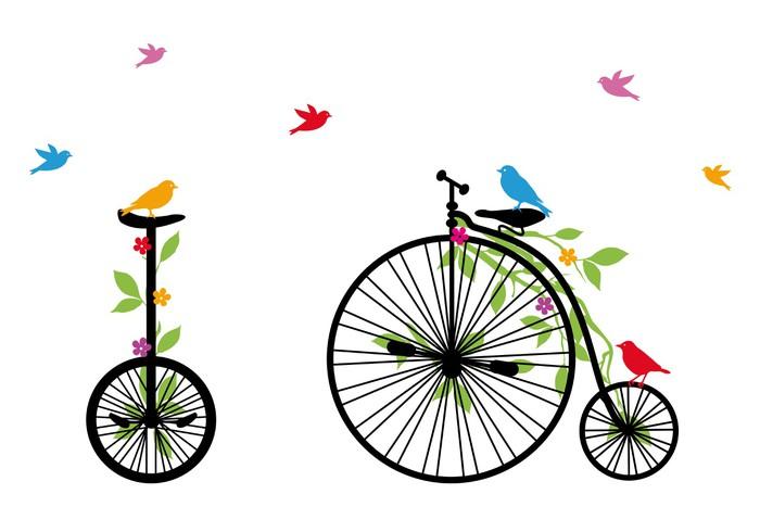 Sticker Pixerstick Oiseaux sur bicyclette rétro, illustration vectorielle -