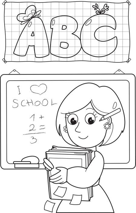 Fototapete Cartoon Färbung Lehrer mit Bücher und Tafel • Pixers ...