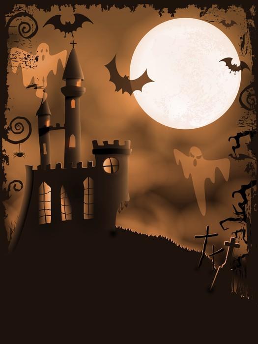 Vinylová Tapeta Spooky Halloween hrad, vektorové pozadí - Mezinárodní svátky