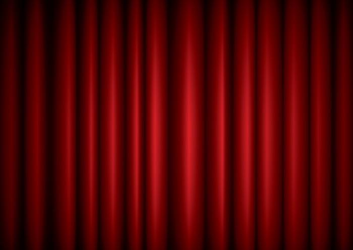 Fotobehang Gesloten rode theater zijden gordijn achtergrond met golf ...