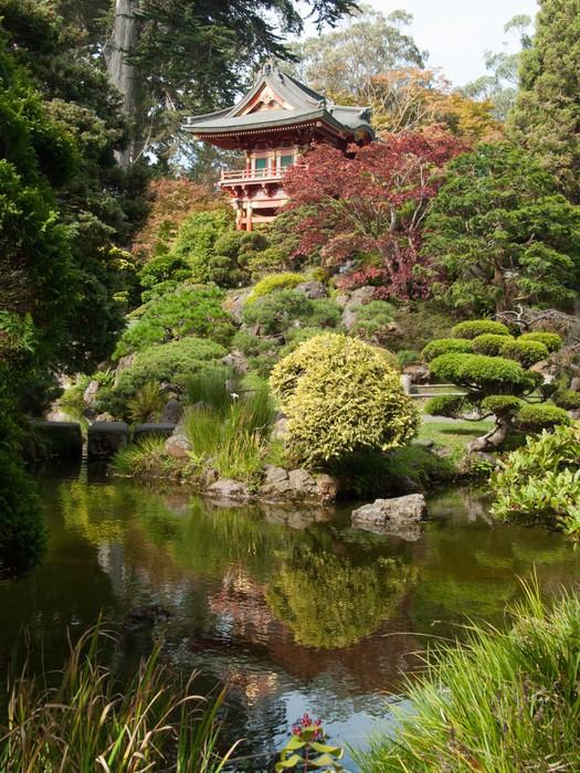 Tableau sur toile pagode et reflet dans le jardin zen - Tableau jardin japonais ...
