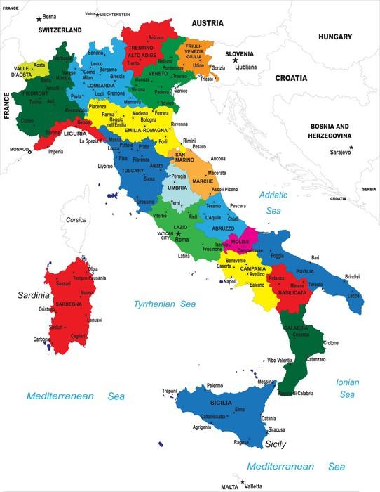 fototapete politische landkarte von italien pixers wir leben um zu ver ndern. Black Bedroom Furniture Sets. Home Design Ideas