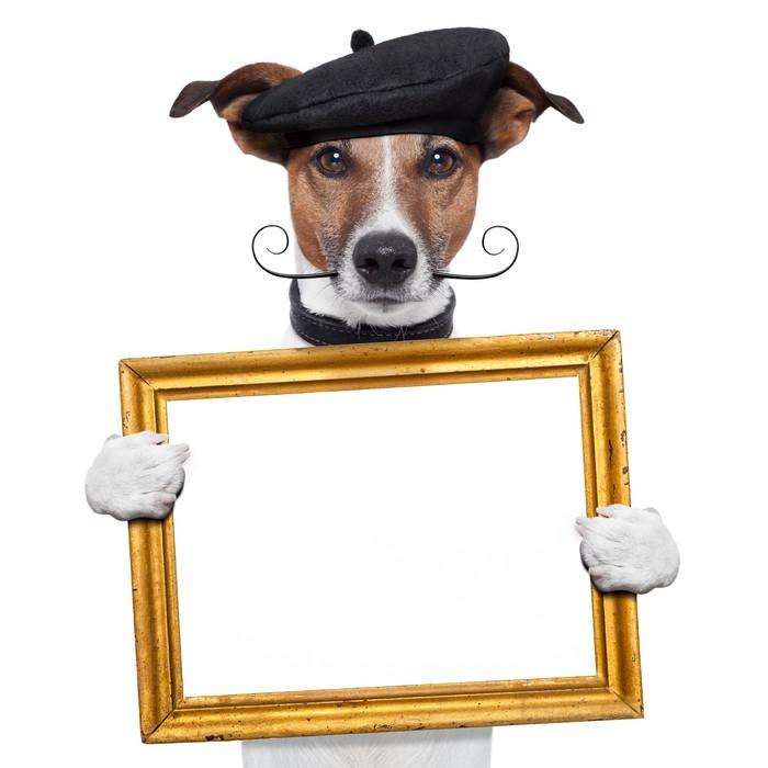 Fototapete Maler Künstler Rahmen-Holding-Hund • Pixers® - Wir leben ...