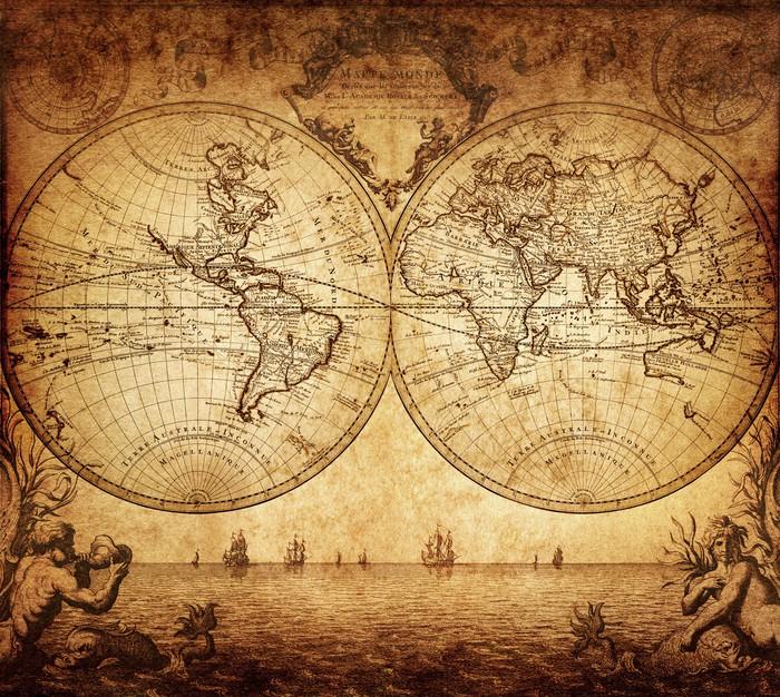 Carta da Parati in Vinile Mappa d'epoca del mondo 1733 - Temi