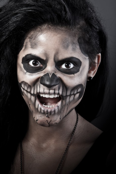 young woman in day of the dead mask skull halloween face art pixerstick sticker