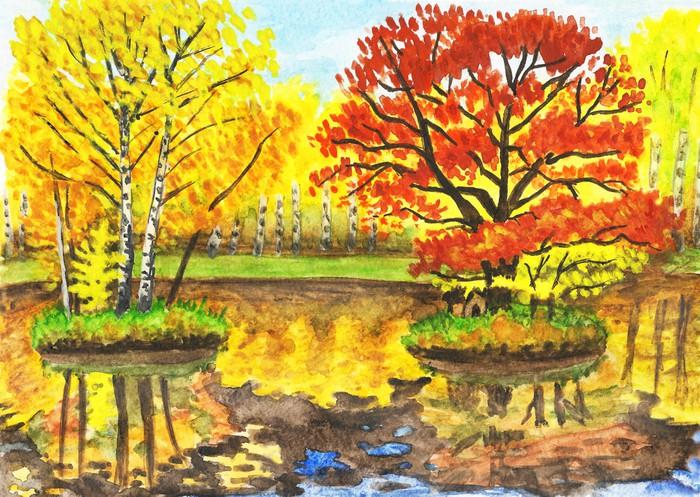 Vinylová Tapeta Podzimní krajina, akvarely - Témata