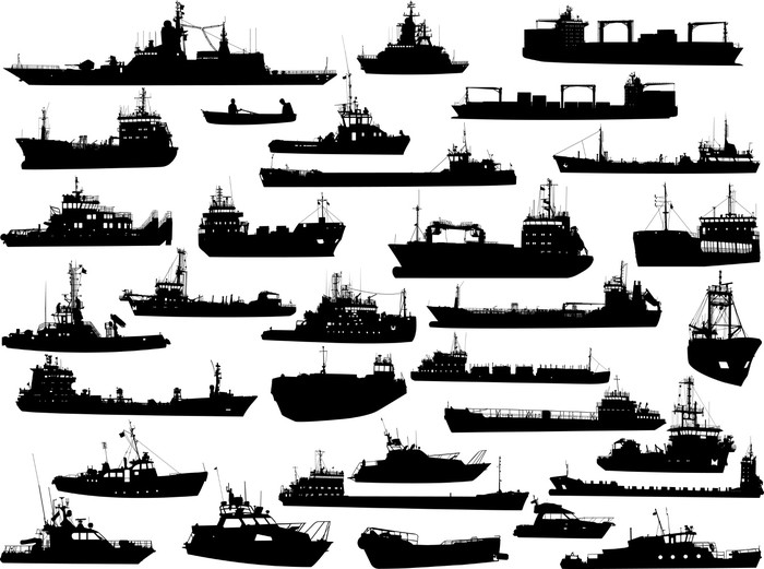 Set of 32 silhouettes of sea yachts, towboat and the ships Vinyl Wallpaper - Boats