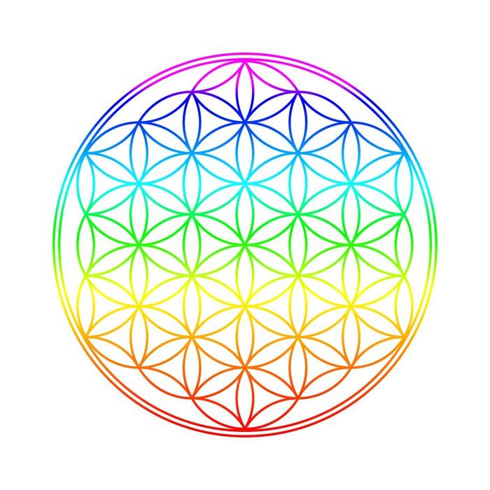 fotomural los colores de chakra flor de la vida pixers