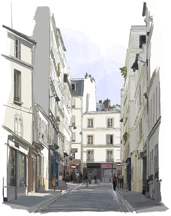 Street near montmartre in paris wall mural pixers we for Black and white paris wall mural
