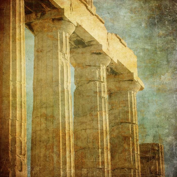Vintage Image Of Greek Columns Acropolis Athens Greece Wall Mural