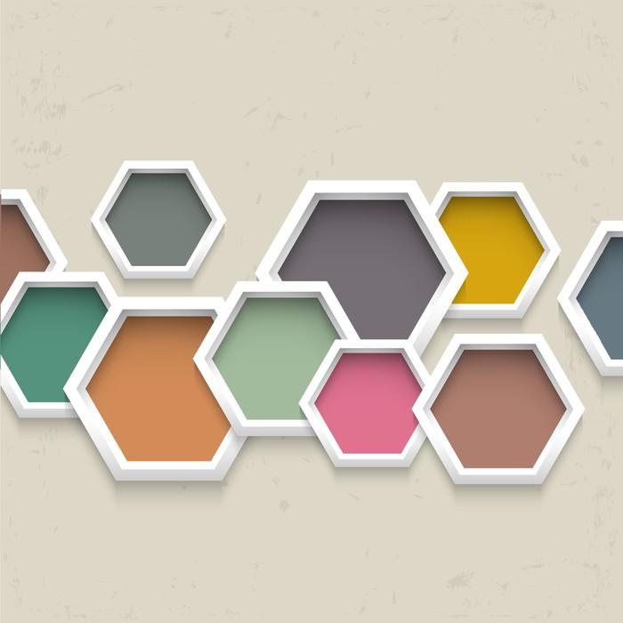 Vinylová Tapeta 3d geometrické pozadí s barevnými šestiúhelníky - Styly