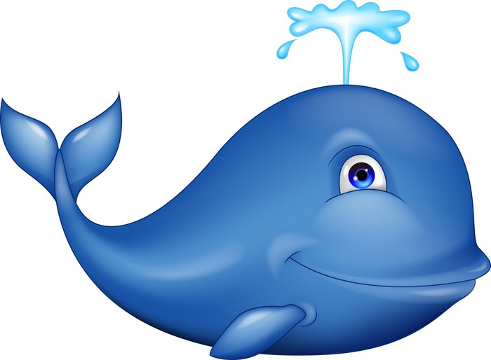 Blue whale cartoon pixerstick sticker wall decals