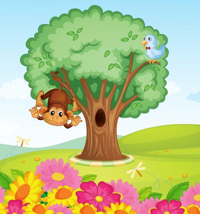 papier peint un singe un oiseau et un arbre pixers nous vivons pour changer. Black Bedroom Furniture Sets. Home Design Ideas