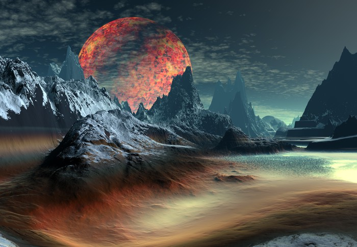 3d Rendered Fantasy Landscape On An Alien Planet Wall