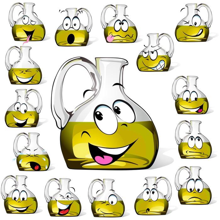 Fotomural Estndar Botella de aceite de oliva de dibujos animados