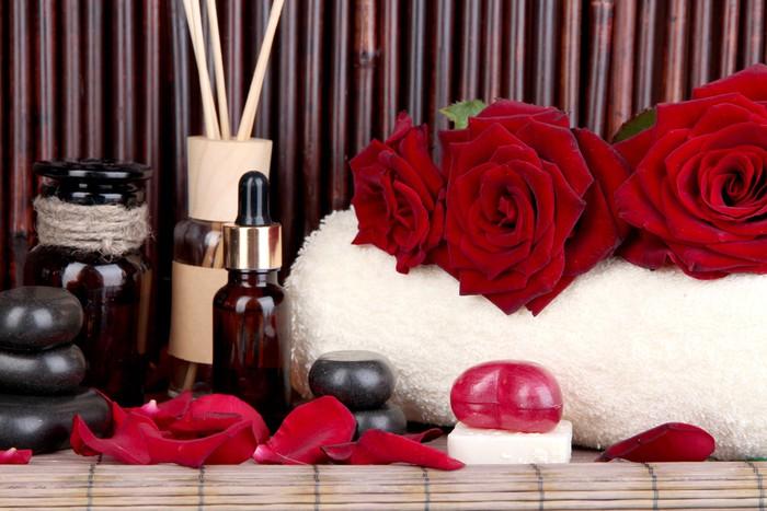Triptyque Beau décor de spa sur fond de bambou -