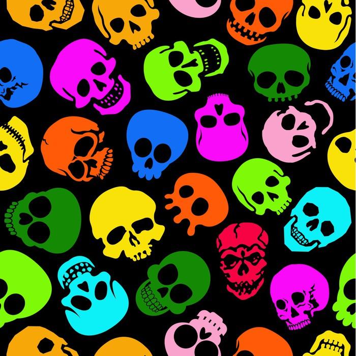Vinylová Tapeta Barevné Skulls bezproblémové vzorek v černém pozadí - Mezinárodní svátky