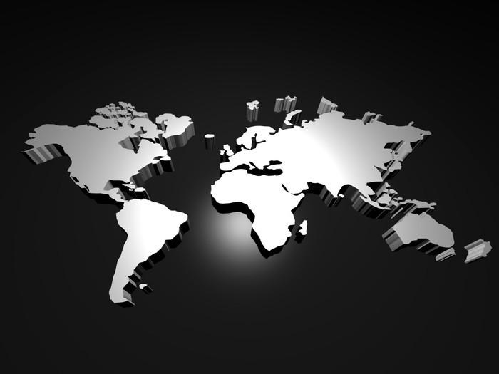 Vinylová Tapeta 3D World Map - Meziplanetární prostor
