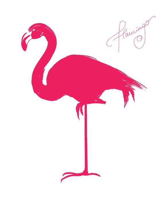 Sticker flamant rose illustration vectorielle pixers - Stickers flamant rose ...