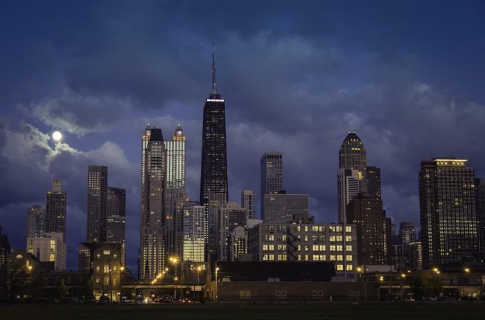 Vinilo Pixerstick Ciudad del horizonte de Chicago en la oscuridad ...