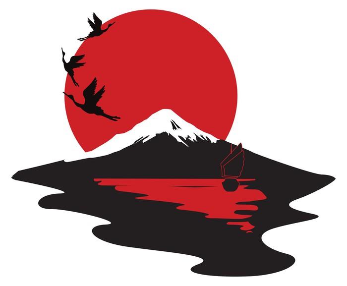 Vinylová Tapeta Miniaturní symbolizující Japonsko - Nálepka na stěny