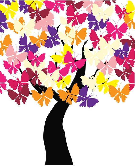 Vinylová Tapeta Vektor motýl strom - Nálepka na stěny