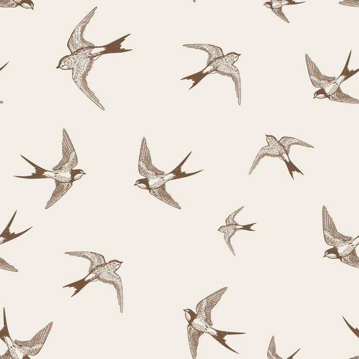 Vintage mønster med hvide små svaler Selvklæbende Fototapet - Andre Andre