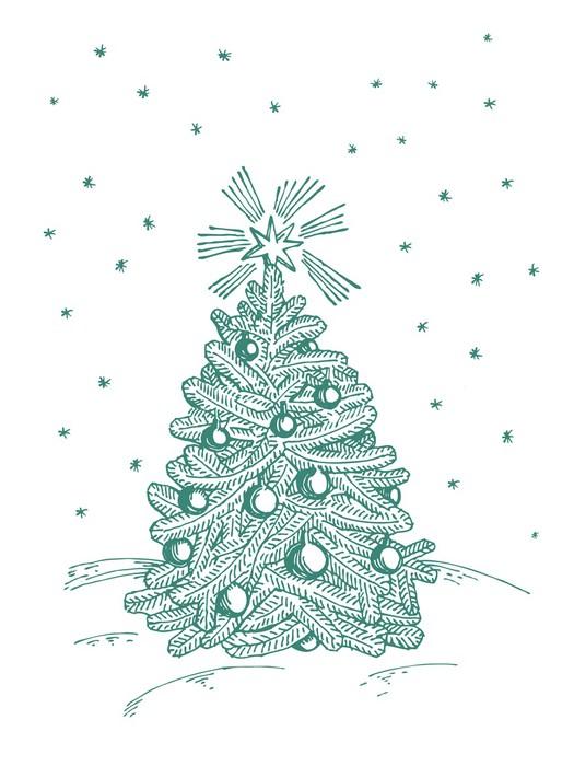 Vinylová Tapeta Vánoční jedle na bílém pozadí - Mezinárodní svátky