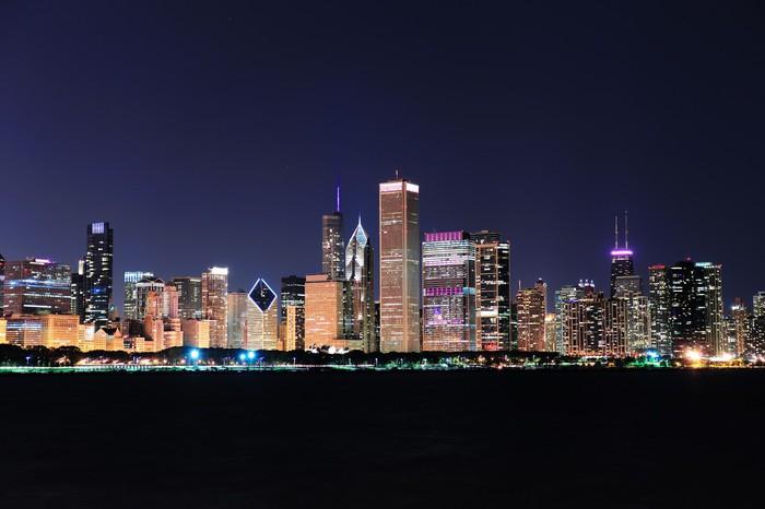 Vinilo para Pared Horizonte de Chicago en la oscuridad • Pixers ...