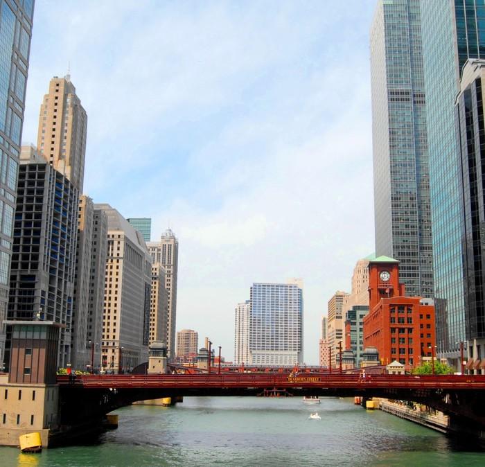 Vinylová Tapeta Downtown Chicago Waterfront a výškové budovy, USA - Amerika
