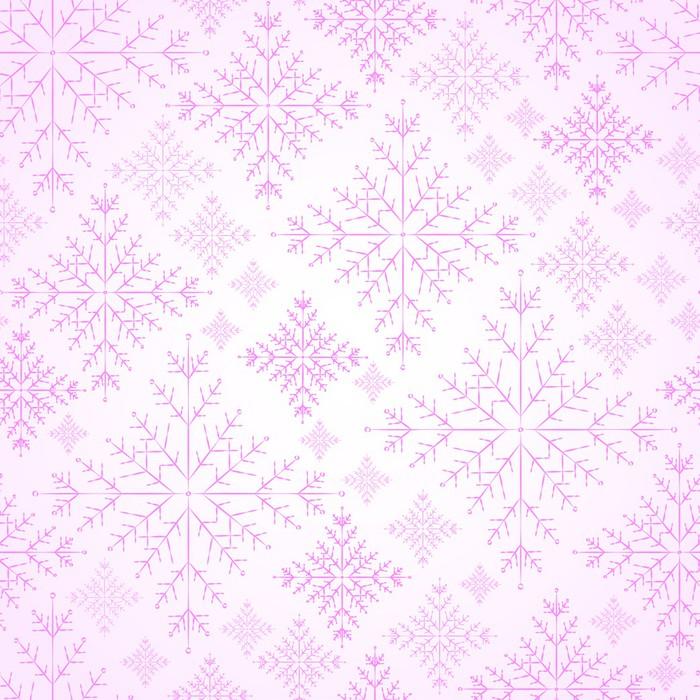 Fototapete Nahtlose Schneeflocken rosa Hintergrund für Winter und ...