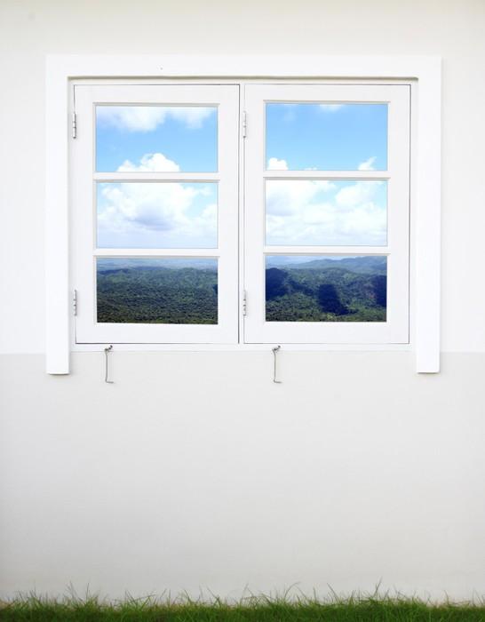 fototapete fenster mit berg und himmel blick pixers wir leben um zu ver ndern. Black Bedroom Furniture Sets. Home Design Ideas