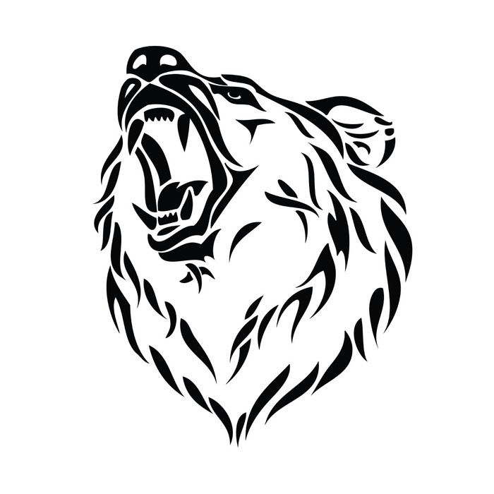 Vinylová fototapeta Vektorové ilustrace grizzly medvěda hlavy - Vinylová fototapeta