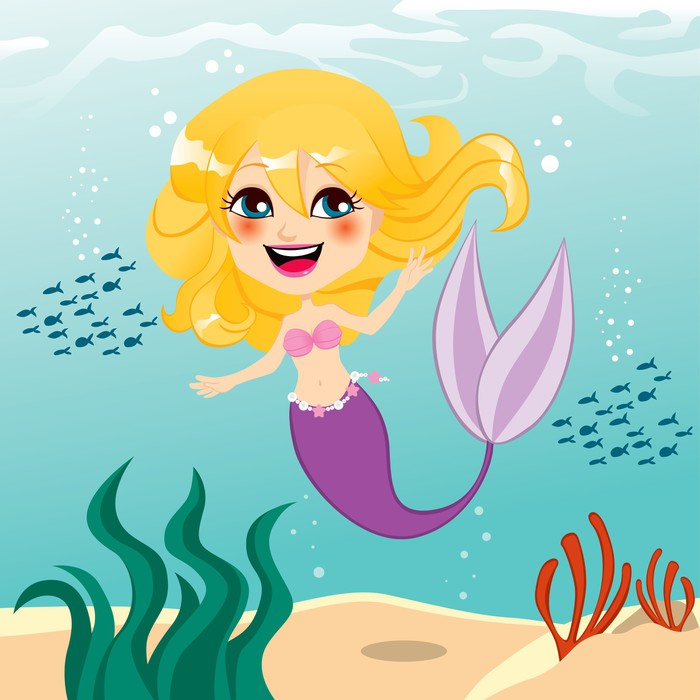 Fototapete Schöne Meerjungfrau Mädchen • Pixers®