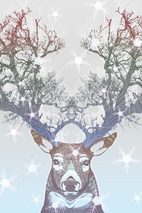Plakat HD w Ramie Drzewo rogów jelenia mrożone -
