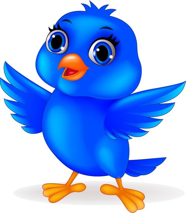 Fototapete Lustige Comic-blaue Vogel • Pixers® - Wir leben, um zu ...