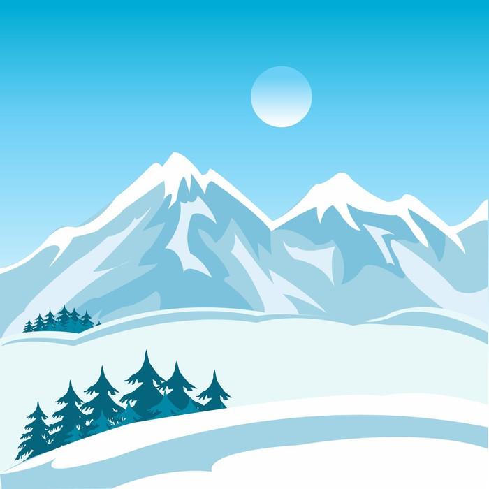 Vinylová Tapeta Zima v horách - Hory