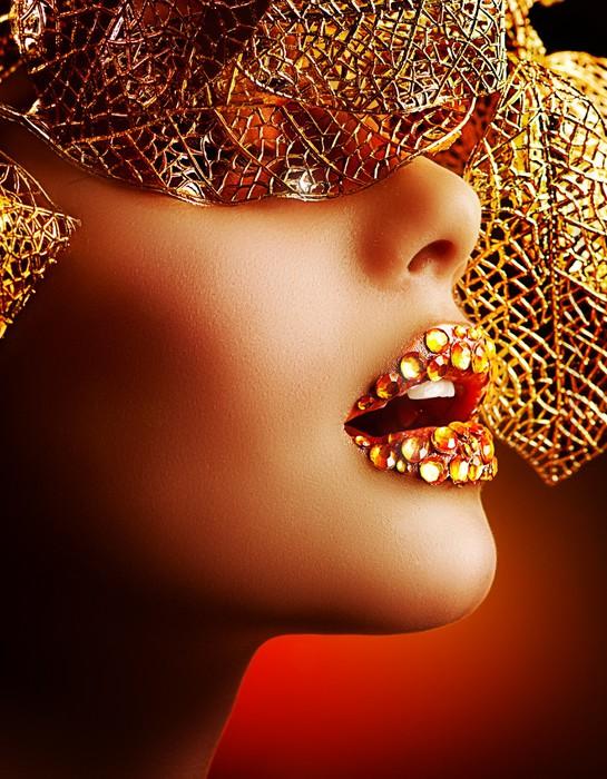 Vinylová fototapeta Luxusní Zlatý make-up. Krásná dovolená Profesionální Make-up - Vinylová fototapeta