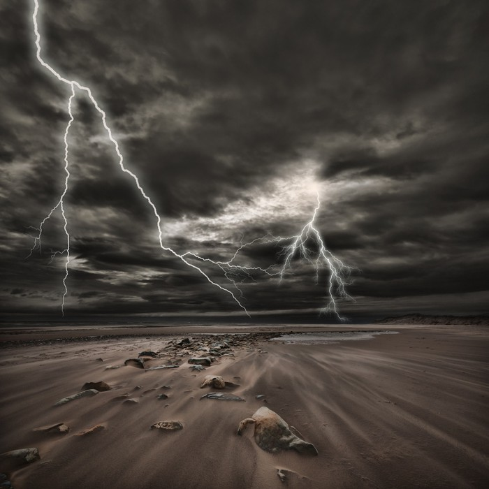 Vinylová Tapeta Lightning bouřky na moři - Příroda a divočina