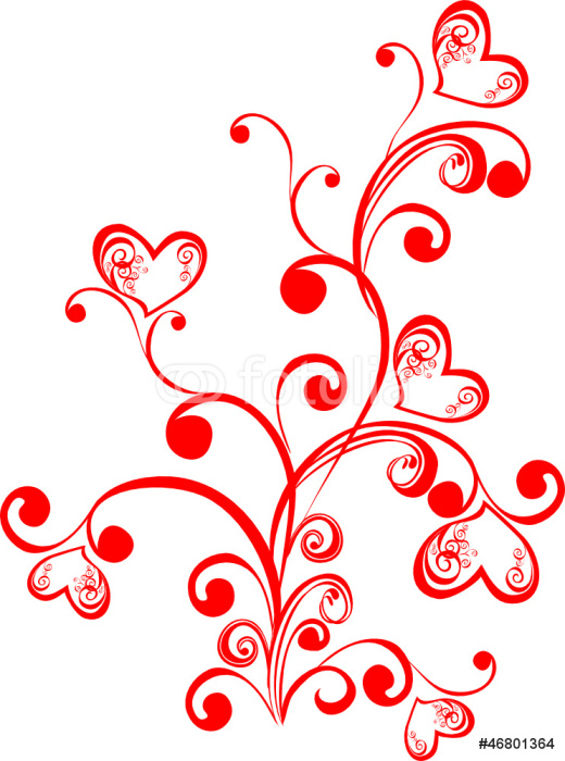 decorative branch with hearts element for design vector wall mural pixers we live to change. Black Bedroom Furniture Sets. Home Design Ideas